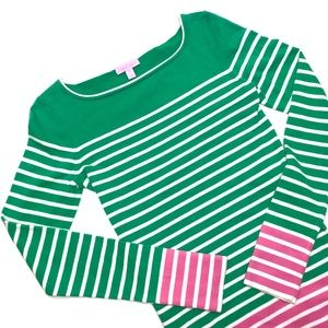 LILLY PULITZER Striped Green Pink Sweater Sz M